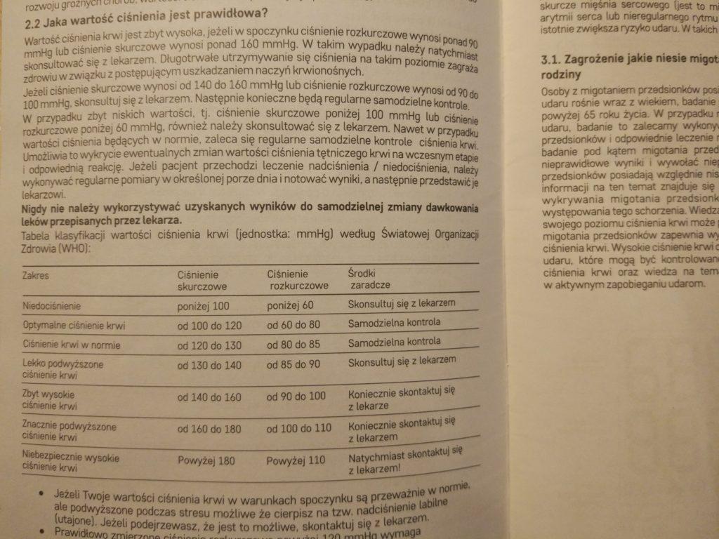 Ciśnienie tabela WHO